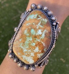 Native American Sterling Silver Royston Turquoise Cuff Bracelet. Ky