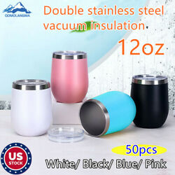 Us 12oz Wine Tumbler Double Wall Stainless Steel Insulated Eggshell Cup With Lid