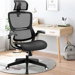 Ergonomic Office Chairs, Mesh Desk Chair With Adjustable Headrest And Black