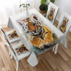 Tiger Cub Wild Safari Animal Rectangle Tablecloth Chair Covers Dining Table Set