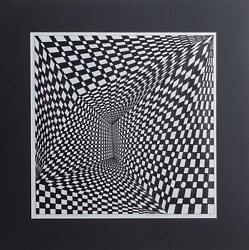 Roy Ahlgren Concave Triad Marker On Thin Paper Mounted To Matboard Signed An
