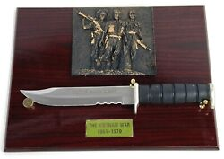 Commemorative Vietnam War Out Of Harms Way Fighting Knife Plaque Display