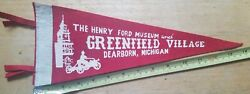 Vintage Henry Ford Museum And Greenfield Village Dearborn Michigan Felt Pennant