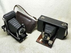 Two Vintage Antique Cameras- 1910 Ansco No.4 Model D And 1946 Agfa Viking. Nice