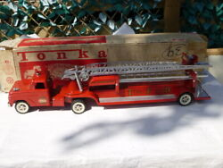 A Vintage 1960's Tonka Toys Tin Plate Aerial Ladder Fire Engine, Boxed
