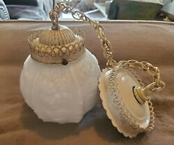 Antique Art Deco/mcm Hanging Floral Milk Glass Round Globe Light With Mount