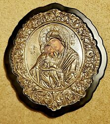 Vintage Greek Orthodox Mary And Child 950 Sterling Silver Icon Byzantine Art 12x11
