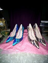 Vince Camuto Snakeskin Pump Pointed Toe Womens Shoes 2 Pair Browins And Bluish