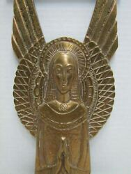Old Brass Religious Icon Decoration Art Plaque Virgin Mary Praying