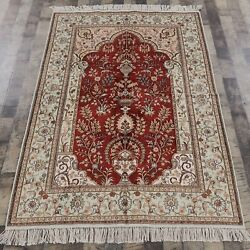 Yilong 4'x6' Red Handwoven Silk Rug Red Living Room Durable Villa Carpet Y89ab