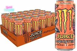 Monster Energy Juice Drink Papillon 16oz. Beverage Can Premium Quality 24 Pack