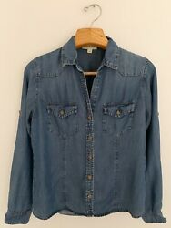 Anthropologie Cloth Andstone Women Shirt S Chambray Tencel Roll Tab Sleeve Button