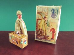 Scarce 1950s Fritz Voit Voith Tin Wind-up Tinplate Suitcase Traveller W/ Or. Box
