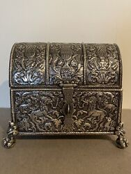 18th C Spanish Colonial Peruvian South American Silver Casket Jewelry Chest Box