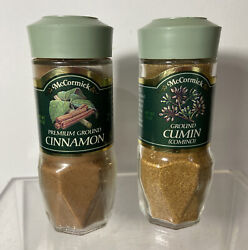 Vintage Lot Of 2 Mccormick Glass Spice Jar Green Lid Ground Cinnamon And Cumin