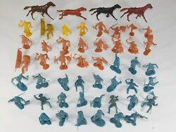 Lot 50 Vtg Marx Fort Apache Play Set Indian Us Cavalry Pioneer Horse Figures Toy