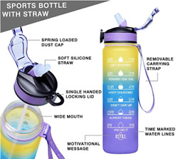 Free Bpa Drinking Water Bottle With Time Marker Co-polyester Plastic 32oz Large