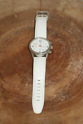 Dooney And Bourke Watch Large Face Leather Band White 50m Japan Mvmt Chronograph