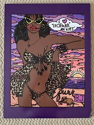 Betsey Johnson Boutique Store I Love Leopard Kitty Sketch Bj Babe Wall Art Rare