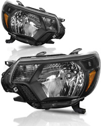 Headlights Fit For 2012 2013 2014 2015 Toyota Tacoma Pickup Black Housing Pair