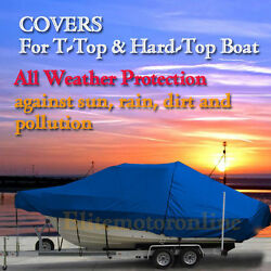 Atlantic 275 Cc Center Console Fishing T-top Hard-top Storage Boat Cover Blue