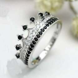 1ct White And Black Cz Stone Crown Promise Queen Engagement Ring