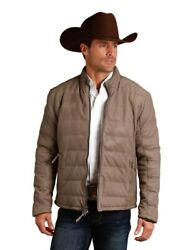 Stetson Western Jacket Mens Leather Quilt Taupe 11-097-0539-6621 Br
