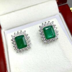 18k Solid White Gold Natural Diamond And Emerald Earrings Studs Vvs