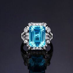 18ct White Gold Stunning Natural Blue Topaz And Diamond Ring Vs Beauty