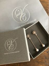 18ct Solid Rose Gold Stunning Natural Pearl Earrings With Genuine Diamonds Vs