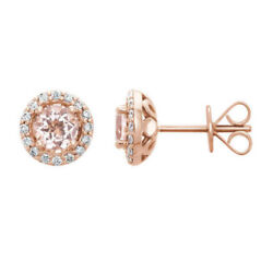 18ct Solid Rose Gold Stunning Natural Pink Morganite And Genuine Diamond Studs Vs