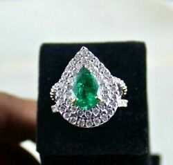 18ct White Gold Stunning Natural Diamond And Emerald Estate Ring Vs