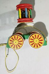 Gorgeous Vintage Brio Wooden Pull Toy Circus Cart Wagon Jingle Bell Sweden