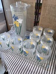 H.j. Stotter Inc. Digby Vintage Tray 8 Cups And Pitcher Iris Very Nice
