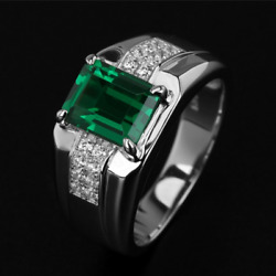 Natural Emerald Gemstone Real Diamond 18k Solid White Gold Menand039s Ring
