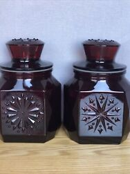 Pair Wheaton Nj Ruby Red Glass Apothecary Canister Jar W/lids 8andrdquo -pretty