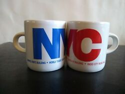 Set Of 2 Vintage 1990s New York City Nyc Espresso Cups Souvenirs Red Blue