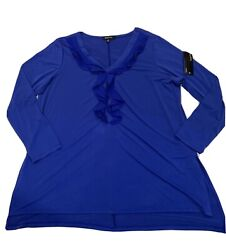 Relativity Long Sleeve Pullover Sheer Blouse Size 2x Blue Ruffled Neckline Nwt