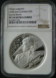 Great Britain Uk 5 Pounds 2020 Silver Proof Music Legends David Bowie Ngc Pf70