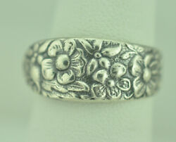 Beautiful 925 Sterling Silver Forget-me-not Flower Small Spoon Ring