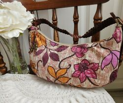 EUC FOSSIL Floral Canvas Leather Trim Shoulder Handbag Hobo Purse Braided Handle $16.95