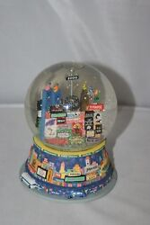 New York City Musical Snow Globe Broadway Twin Towers Auld Lang Syne 2000 Vtg