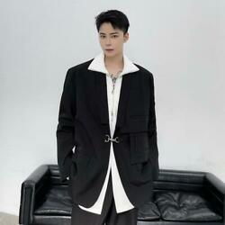 Mens Fashion Design Metal Buckle Oversize Suit Coats Gothic Youth Party Tops 514