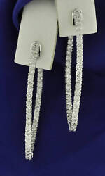 2.55ct Inside/out 14k Solid White Gold Natural Diamond Hoop Earring Snap Closure