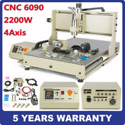 2.2kw 4axis Cnc 6090 Router Spindle Engraver Milling Machine Metalwook Usb Vfd