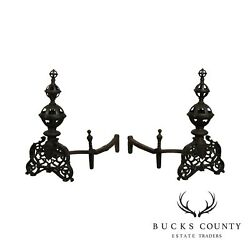 Bradley And Hubbard Antique Cast Iron Pair Andirons 9518