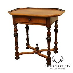 French Louis Xiii Style Custom Quality Walnut One Drawer Side Table
