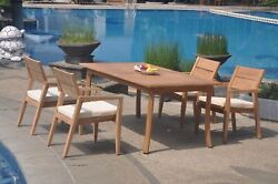 A-grade Teak 5pc Dining 94 Rectangle Table 4 Vellore Stacking Arm Chair Set