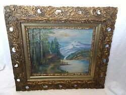 Rucker Oil Painting Cabin Mountain Forest Lake 1945 Original Rare