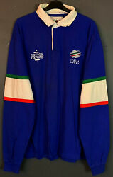 Long Sleeve Menand039s Rugby Union Italy Italia 1998/1999 Shirt Jersey Size 2xl Xxl